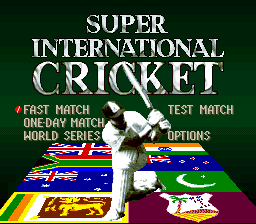 Super International Cricket Title Screen